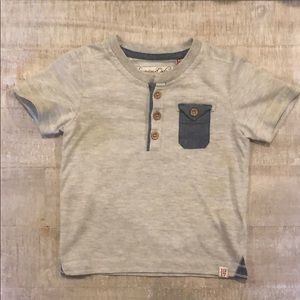 Gray and blue 24 month fitted shirt.